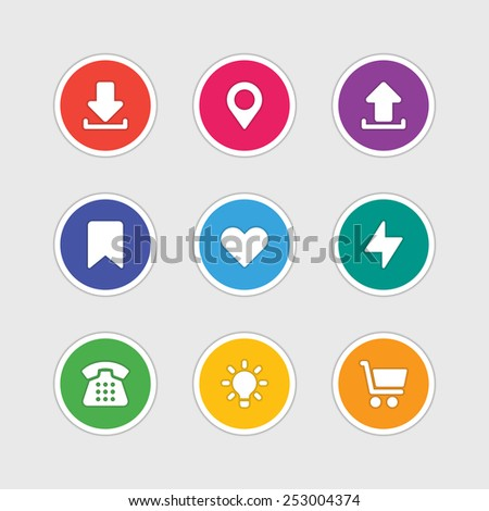 Material design style icons vector sign and symbols: Download, Map pointer, Bookmark, Heart, Lighting, Telephone, Lamp, Shopping. Elements for website, web banners, mobile apps, ui and other design.  - stock vector