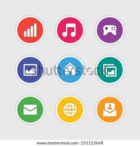 Material design style icons vector sign and symbols: Signal, Music note, Game pad, Photo gallery, Home, E-mail, Globe. Elements for website, web banners, mobile apps, ui and other design.