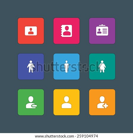 Material design style icons vector sign and symbols User, Profile, People, Man, Woman, Contacts. Elements for website, web banners, mobile apps, UI and other design.  - stock vector