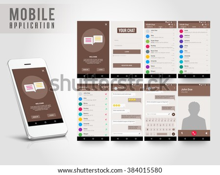 Material Design UI, UX, GUI screens and flat web icons for mobile apps, responsive website with Sign Up, Login Form, Contact List, Chat List and Call List, Message Preview and Calling Features.  - stock vector