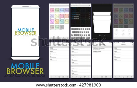 Material Design UI, UX, GUI template layout for Mobile Browsing Apps including Gallery, Bookmark, History and Favorite Screens for responsive website and e-commerce business concept.  - stock vector