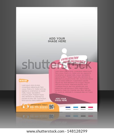 Maternity Hospital Flyer Poster Template Stock Vector
