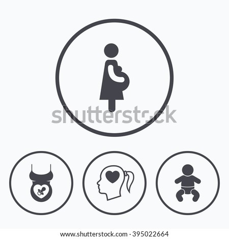 Maternity icons. Baby infant, pregnancy and dummy signs. Child pacifier symbols. Head with heart. Icons in circles. - stock vector