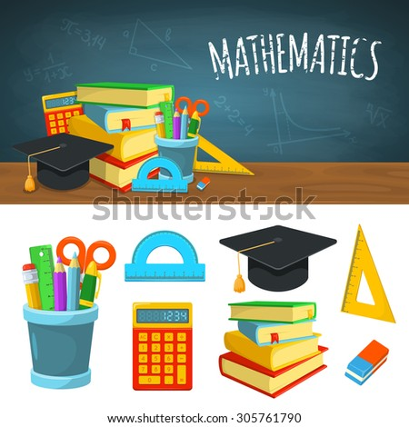 Math backdrop and icons. Education background design. Science colorful vector composition.  - stock vector
