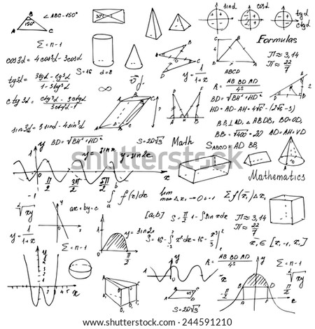Math. Background with trigonometry formulas. White background. Vector illustration. - stock vector