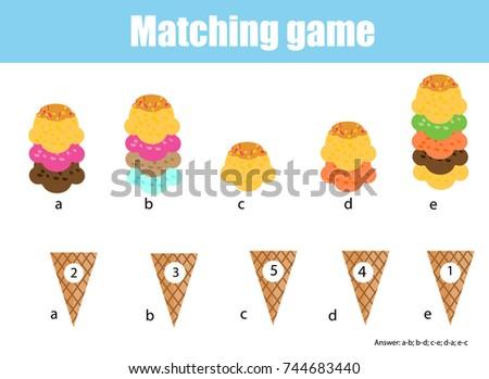Math Educational Game Children Matching Mathematics Stock Vector ...