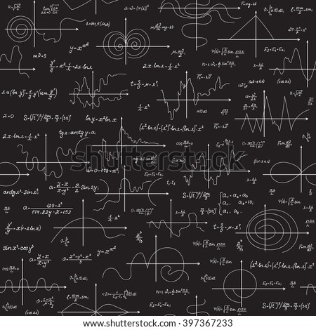 Math educational vector seamless pattern with scientific formulas, research equations and plots, handwritten with chalk on a grey board seamless design