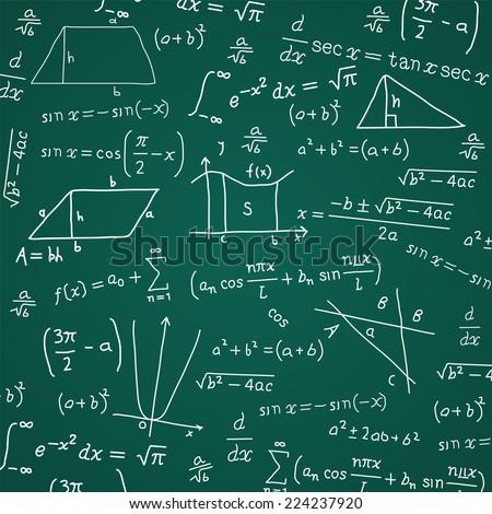 Math Formula Blackboard Calculation Vector Illustration Cartoon. - stock vector