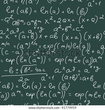Math Formulas. Seamless pattern - stock vector