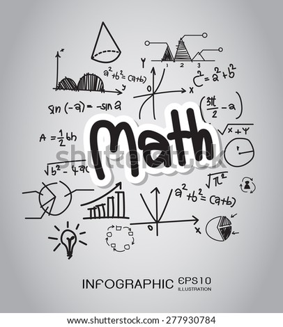 Math hand drawn concept with icons background. vector - stock vector