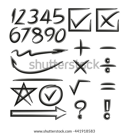 math icons, arrows and number