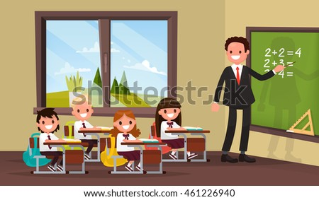 Math lesson. A teacher with pupils in primary school classroom. Vector illustration of a flat design - stock vector