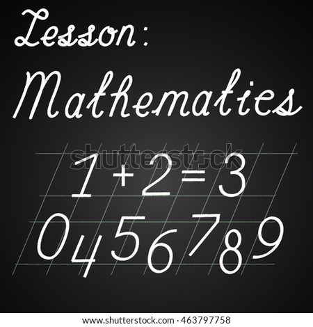 Math lesson, numbers from 0 to 9 and simple math equation, vector illustration