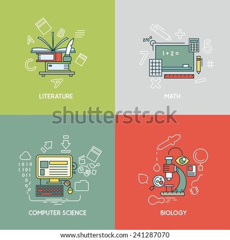 Math, literature, computer science and biology - stock vector