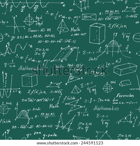 Math. Seamless pattern with trigonometry formulas. Chalk on a blackboard. Vector illustration.