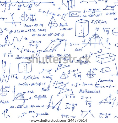 Math. Seamless pattern with trigonometry formulas. Vector illustration.