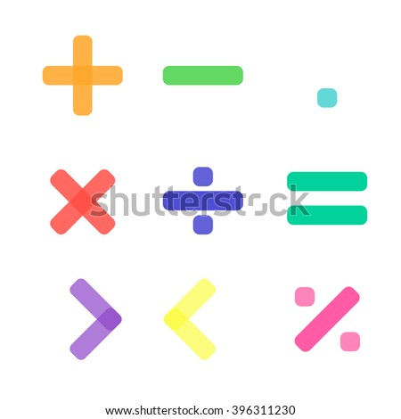 Math symbol with pastel color in white background - stock vector