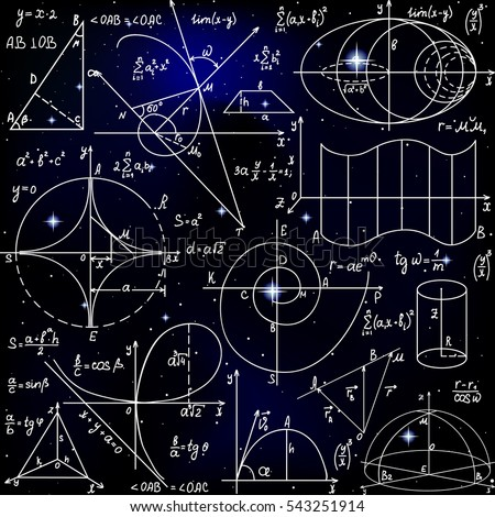 Math vector seamless pattern with formulas, figures and calculations handwritten on starry space background. Scientific endless texture