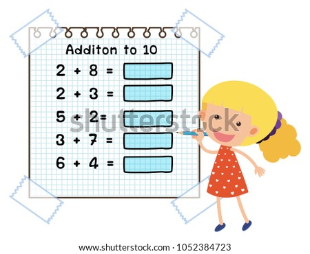 Math Worksheet Addition Ten Illustration Stock Vector 1052384723 ...