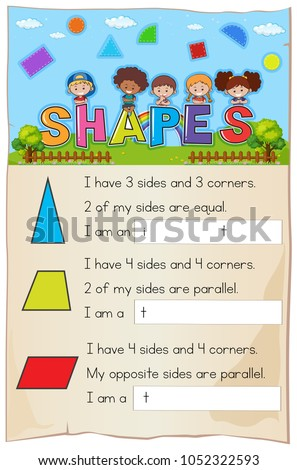 Math Worksheet Template Shapes Illustration Stock Vector