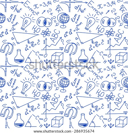 Mathematical and physical equations and formulas, seamless background - stock vector