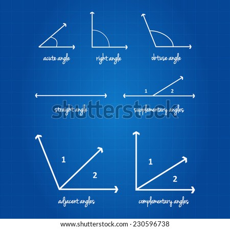 Mathematical Angles Signs On Blueprint - stock vector