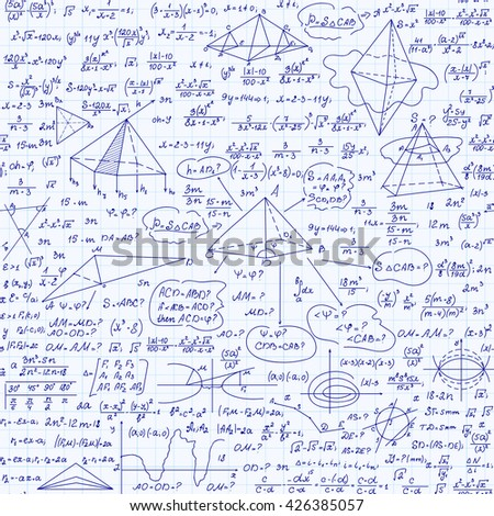 Mathematical educational vector seamless pattern with handwritten formulas, geometrical figures, tasks, plots and equations. Endless mathematical texture
