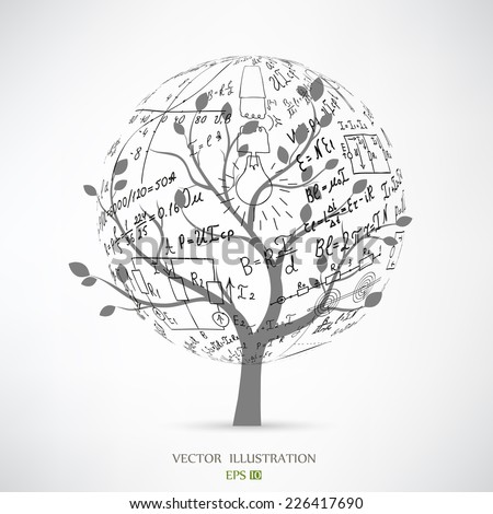 Mathematical equations and formulas on the tree. The concept of vector illustrations - stock vector