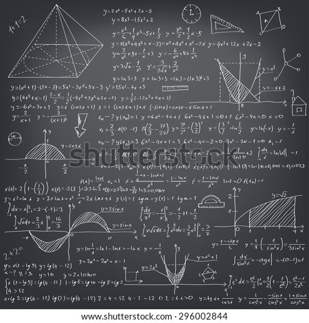Mathematical formulas on a black school board - stock vector