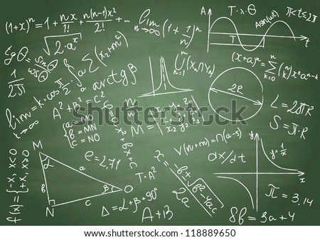 Mathematical formulas on a green school board - stock vector