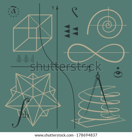 Mathematical functions and geometric shapes vector background