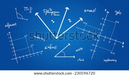 Mathematical Geometry Signs On Blueprint Background - stock vector