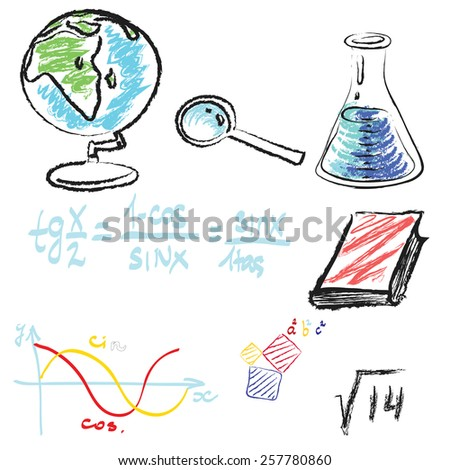 mathematical signs,icon,vektor,writing with chalk - stock vector