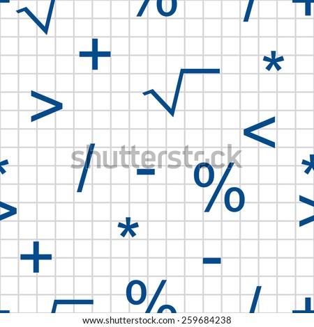 mathematical symbols seamless pattern - stock vector