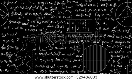 Mathematical vector seamless pattern with algebra plots, calculations, task solutions. Scientific vector background
