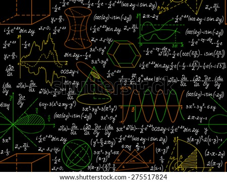 "Mathematical vector seamless pattern with figures, formulas and other calculations, ""handwritten on the copybook paper"", different colors. Endless math texture. You can use any color of background - stock vector"