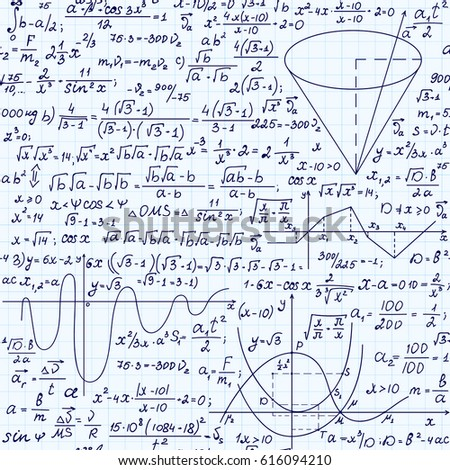 Mathematical Vector Seamless Pattern Formulas Plots Stock Photo ...
