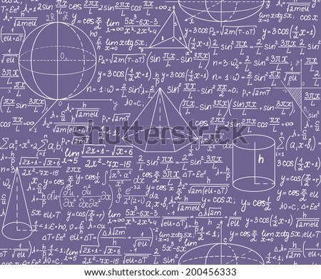 Mathematical vector seamless pattern with formulas. You can use any color of background.