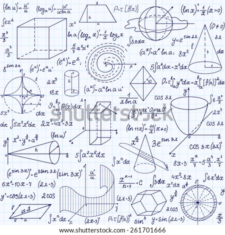 Mathematical vector seamless pattern geometrical figures stock mathematical vector seamless pattern with geometrical figures plots and equations handwritten on the ccuart
