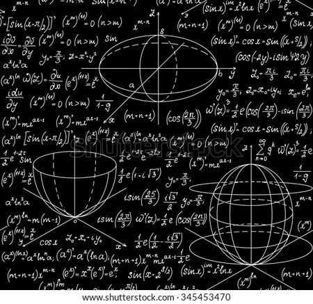 Mathematical vector seamless pattern with geometrical figures, plots, equations, formulas and calculations. Endless math texture. You can use any color of background - stock vector