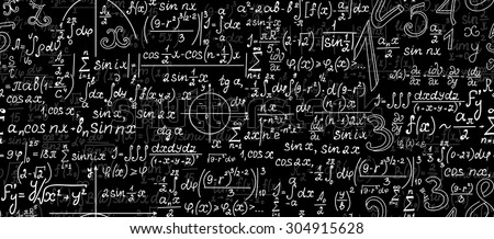 Mathematical vector seamless pattern with geometrical figures, plots, formulas and calculations - stock vector