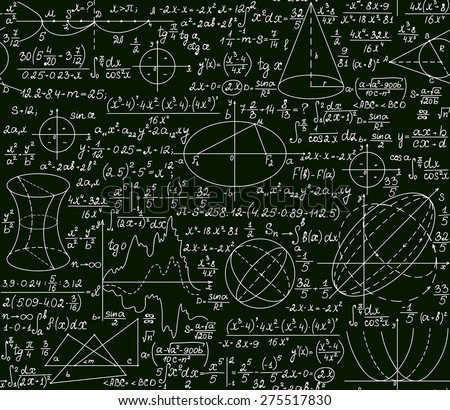 Mathematical vector seamless pattern with plots and formulas on a green background