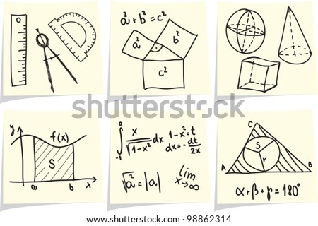 Mathematics and geometry icons and formulas on yellow memo sticks. Vector illustration. - stock vector