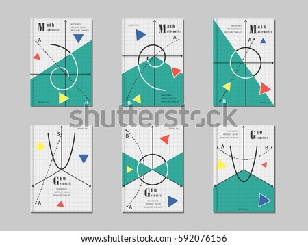 mathematics cover design abstract geometric shapes and signs creative template for brochure covers