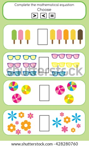 Mathematics educational game for children. Learning counting and algebra task for kids. Complete the mathematical equation task, choose more, less or equal - stock vector