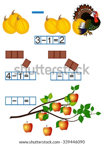 Mathematics, familiarity with a minus sign, subtraction. - stock vector