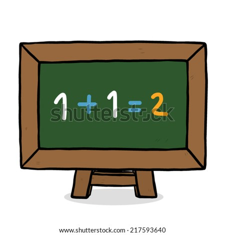 mathematics formula, chalk written on green board / cartoon vector and illustration, hand drawn style, isolated on white background. - stock vector