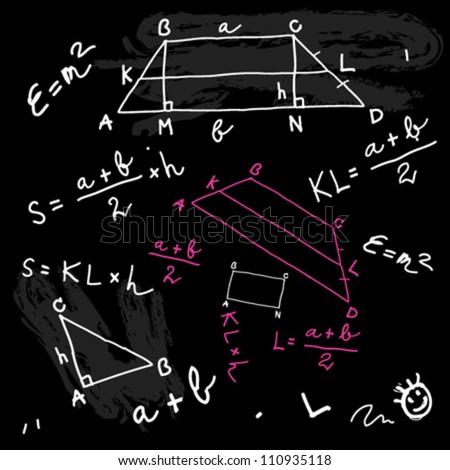 Mathematics formulas on the school blackboard - stock vector