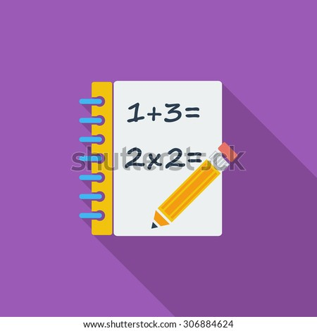 Mathematics icon. Flat vector related icon with long shadow for web and mobile applications. It can be used as - logo, pictogram, icon, infographic element. Vector Illustration. - stock vector