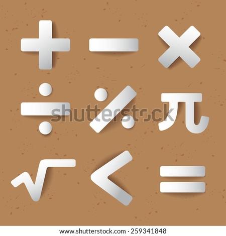 Mathematics Icon Set : Equation Set :Vector Illustration - stock vector